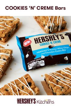 Take a spin on the classic flavor with these Cookies 'N' Creme Bars. Made with HERSHEY'S Cookies 'N' Creme Baking Pieces for a sweet treat kids will love in their lunch or as an after-school bite.