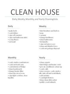 cleaning chart~ Now this one I can follow.