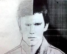 kid's work, drawing, black and white, Ethan Hawke