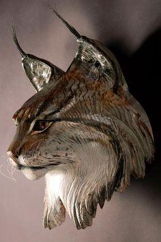 Lynx Mask Wood sculpture by Jason Tennant Holzschnitzen , Lynx Mask Wood sculpture by Jason Tennant Lynx Mask Wood sculpture by Jason Tennant. Tree Carving, Wood Carving Art, Wood Carvings, Art Sculpture En Bois, Art Diy, Art Carved, Wooden Art, Animal Sculptures, Oeuvre D'art