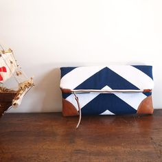 Navy/Nautical Fold over Clutch purse/ blue-white chevron/ leather details/ zipper clutch/cruise/diaper clutch