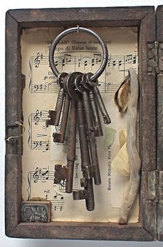 Old keys framed