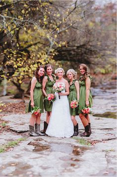 Green Olive Bridesmaid Dresses by Amanda Archer Collection