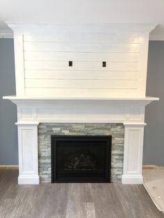 Image result for shiplap and stone fireplace