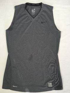 9ff26f1283b NIKE Women s Pro Team Fitted Sleeveless Dri Fit V-neck Top Shirt Grey  Heather S