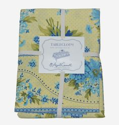 April Cornell Yellow and Blue Floral 100% Cotton Tablecloth NEW NWT #AprilCornell