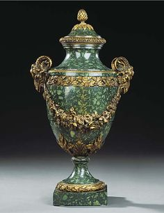 A GREEN PORPHYRY AND GILT BRONZE VASE AND COVER  IN THE LOUIS XVI STYLE, CIRCA 1880  19IN. (48.3CM.) HIGH