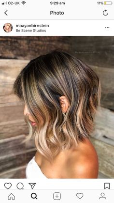 Lob-Haircut-W-Balayage Best Wavy Bob Hairstyles You will Like Medium Hair Styles, Curly Hair Styles, Balayage Lob, Lob Ombre, Balayage Bob Brunette, Balayage Hairstyle, Brunette To Blonde, Wavy Bob Hairstyles, Summer Hairstyles