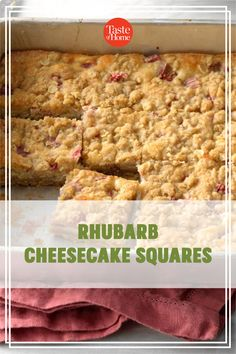 It's rhubarb season, so now's the time to try this rich and tangy cheese bar. It's bound to be a hit with the rhubarb lovers you know. —Sharon Schmidt, Mandan, North Dakota Bar Recipes, Keto Recipes, Dessert Recipes, Potluck Desserts, Just Desserts, Cheese Bar, Cheesecake Squares, Rhubarb Recipes, Cinnamon Cream Cheeses