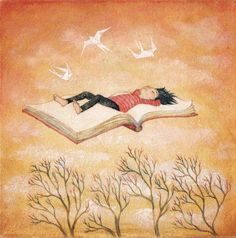 Floating away / illustration by Lucy Campbell Illustration, Drawings, Painting, Reading Art, Whimsical Art, Art, Pictures, Book Illustration, Book Art