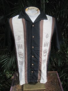 851be859 Mens Shirt PANEL M Pit to Pit 21 BUNGALOW JOE Rayon Blend Embroidered Latin  TIKI #