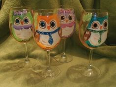 Hand painted owls sitting in a tree. So cute. Great set. usa. Set of 4 goblets.. 20 ounces each. Hand painted set of 4 goblets. Hand Painted in fun owl in a tree design. Individual owl on each goblet. 2 girls and 2 boys. . Each goblet holds 20 ounces. Paint is baked on for permanence.
