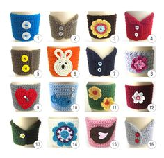 Pack of 5 Cup Cozies . Tea Drinks Beverage Coffee Hot Cold Sleeve Travel Mug Spring Easter Eco Friendly Cozies Gifts
