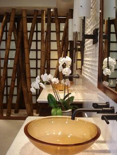 Looking for Asian Bathroom ideas? Browse Asian Bathroom images for decor, layout, furniture, and storage inspiration from HGTV. Spa Bathroom Decor, Contemporary Sink, Zen Home Decor, Vanity Decor, Asian Bathroom, Contemporary Decor, Modern Bathroom Decor, Bathroom Decor, Asian Home Decor