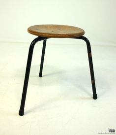 Jean Prouvé Attributed; Oak Plywood and Enameled Tubular Metal Stool, 1940s.