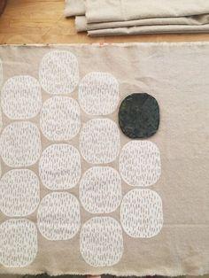 Pods, Block Print, Sarah Golden (With images) Stamp Printing, Screen Printing, Block Printing On Fabric, Block Print Fabric, Linoleum Block Printing, Block Printing Designs, Stencil Printing, Hand Printed Fabric, Fabric Painting