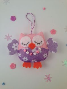 Owl ornaments-Felt ornaments--Owl decor-Hanging ornaments-Christmas ornaments owl-Christmas ornaments felt-purple owl-purple felt by SnowFelts on Etsy https://www.etsy.com/listing/485048502/owl-ornaments-felt-ornaments-owl-decor