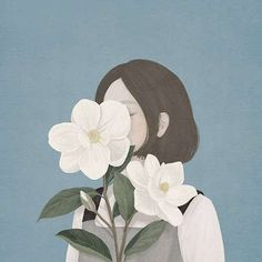 Ideas Flowers Girl Illustration Anime Art For 2019 Korean Art, Digital Art Girl, Illustration Girl, Girl Illustrations, Anime Art Girl, Aesthetic Art, Couple Aesthetic, Cartoon Art, Cute Drawings
