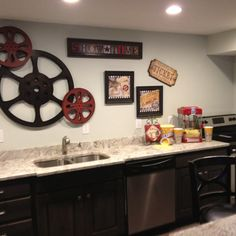 Decorate the back counter - not necessarily like this but something...for the basement bar