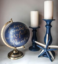To Live Would Be An Awfully Big Adventure - Large, Blue and Gold Globe, Hand Painted, Calligraphy, Travel Quotes, Peter Pan, Custom Globe