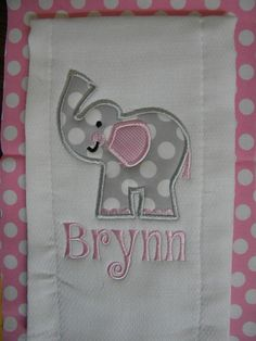 Custom boutique Pink grey ELEPHANT baby by CarlieAnnaBoutique, $7.99