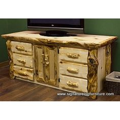 Aspen Log Widescreen 6ft TV Stand www.signaturelogfurniture.com