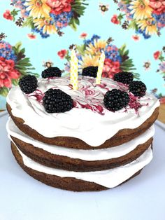 Grain Free Spice Cake with Dairy Free Maple Buttercream and Blackberry Swirl