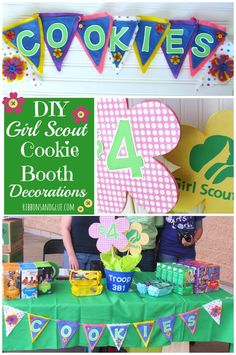 It's Cookie Time! Make your own DIY Girl Scout Cookie Booth Decorations This Cute and simple Cookie Booth Decorations idea includes flower sign table centerpiece and a felt cookie banner. Girl Scout Cookie Meme, Girl Scout Cookie Sales, Brownie Girl Scouts, Girl Scout Swap, Girl Scout Leader, Girl Scout Troop, Scout Mom, Girl Scout Cookies Recipes, Girl Scout Activities