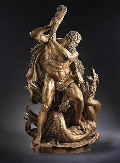 Hercules and the Hydra. late 19th.century. German. after Edmund Hofmann Von Aspernburg. Austrian 1847-1930. patinated bronze.