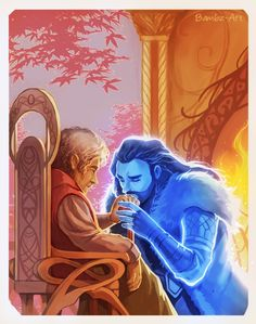 """""""Bagginshield - I Sit Beside the Fire (Sansûkh) """" """"He lifted his other hand and allowed it to drift through the wispy white spiderweb of Bilbo's hair. 'I am glad you grew old,' he said in a low voice. Hobbit Bilbo, Hobbit Art, Bilbo Baggins, Thorin Oakenshield, Lotr, The Hobbit, Legolas And Thranduil, Fili And Kili, Aragorn"""