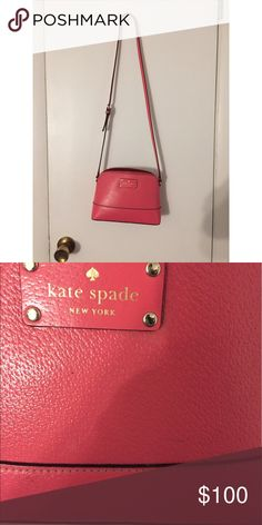 Kate Spade Pink Crossbody Love this purse! It's a bright dark(ish) pink that can go with a bunch of outfits. It has some spots where you can tell it's been used but only close up. Also, the straps are pink and black on the sides. kate spade Bags Crossbody Bags