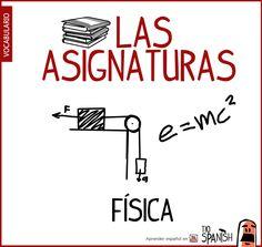 fisica, nombre de las asignaturas en español