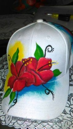 Air Brush Painting, Fabric Painting, Diy Painting, Hobbies And Crafts, Diy And Crafts, Arts And Crafts, Painted Hats, Hand Painted, Drawing Hats
