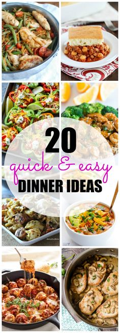 Easy dinner recipes to the rescue! Pressed for time when it comes to weeknight meals? Here are 20 Quick and Easy Dinner recipes to help you get food on the table in 30 minutes or less! Dinner Recipes Easy Quick, Delicious Dinner Recipes, Easy Weeknight Meals, Quick Meals, 30 Minute Meals, Cooking Recipes, Healthy Recipes, Cooking Games, Fast Dinners
