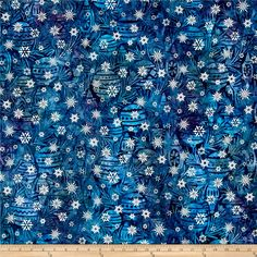 Kaufman Batiks Noel Metallic Bulbs Winter from @fabricdotcom  From Lunn Studios for Robert Kaufman, this batik collection has a Christmas flair with metallic accents that is perfect for quilting, apparel, and home decor accents. Colors include shades of blue, teal, and purple with metallic silver accents.
