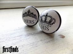 2 pairs AVAIL His & Hers Knobs Shabby Chic White by Firstfinds, $16.00