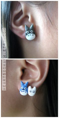 Kawaii Totoro Stud Earrings Handmade Studio Ghibli by Hearts2Charm, $5.00