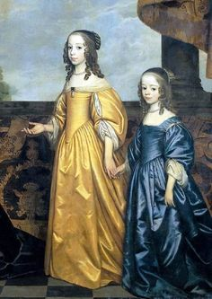 Daughters of Frederick Henry, Prince of Orange (detail)-Gerrit van Honthorst – Dutch) 17th Century Clothing, 17th Century Fashion, 18th Century, Louis Xiv, Historical Costume, Historical Clothing, Utrecht, Prince Of Orange, Baroque Art
