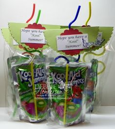 Last day of school treats for the kids. Kool-aid drinks in cello bags and crazy straws decorated with Stampin' Up! products by Debbie Henderson, Debbie's Designs.
