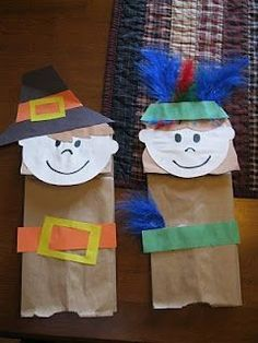 Thanksgiving Crafts For Kids. Thanksgiving Pilgrims and Indians Bag Kids Crafts, Preschool Projects, Daycare Crafts, Classroom Crafts, Preschool Art, Preschool Education, Art Education, Art Projects, Kindergarten Thanksgiving Crafts