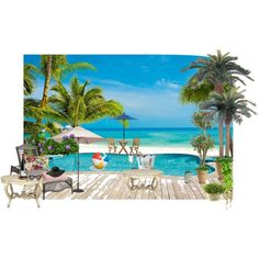 Poolside... by celinefrancesca on Polyvore featuring interior, interiors, interior design, home, home decor, interior decorating, Pier 1 Imports, Zuo Modern, Crate and Barrel and Thos. Baker