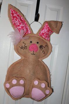 Easter bunny Burlap door hanger natural by Cutipiethis on Etsy, $40.00