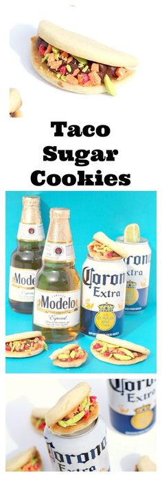 Taco sugar cookies are a delicious and adorable dessert for a Cinco De Mayo celebration! Perfect to serve with Corona and Modelo. #ad #cervezacelebration Msg 4 21+