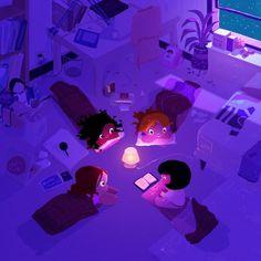 Story Night with Friends / Noche de cuentos entre amigas (ilustración de Pascal Campion)