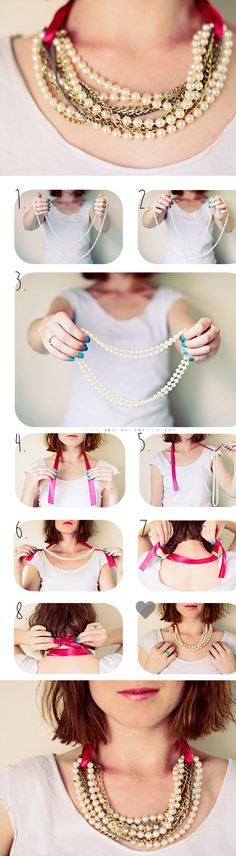 DIY Pearl Necklace In 3 Minutes diy craft crafts craft ideas easy crafts diy ideas crafty easy diy diy jewelry craft necklace diy necklace jewelry diy fashion crafts - you don't alter the necklaces so you can wear again and make new combos. So clever! Vintage Jewelry, Handmade Jewelry, Vintage Necklaces, Handmade Accessories, Vintage Pearls, Vintage Brooches, Vintage Accessories, Diy Collier, Diy Accessoires