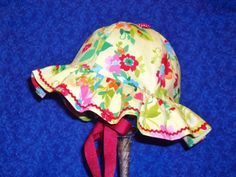 Baby Sunhat Pale Yellow with Flowers and Rick by AdorableandCute, $24.00