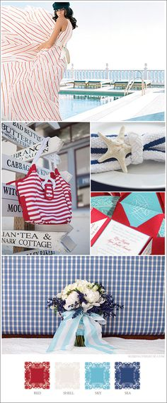 Mood board based on 4th of July nautical marine sea theme, red, blue, white