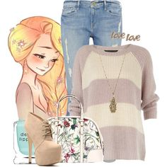 """""""Modern Rapunzel"""" I like this kine of feminine, more soft and casual then girly and frilly."""