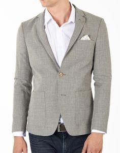 Bertoni Blazer structure weave single blazer light grey grijs - To Be Dressed