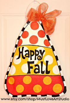 Fall Autumn Candy Corn Burlap Door Hanger by MustLoveArtStudio. , via Etsy. Burlap Projects, Burlap Crafts, Burlap Wreaths, Wood Crafts, Craft Projects, Wooden Wreaths, Fall Projects, Canvas Crafts, Wood Projects